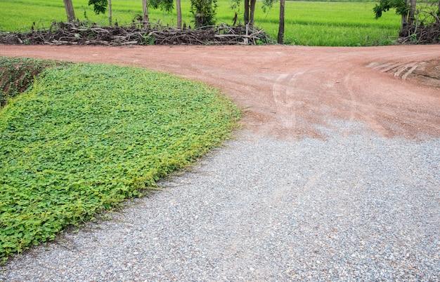 砂利地の未舗装の道路。