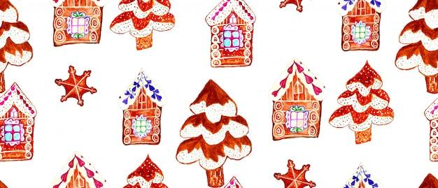 ジンジャーブレッドクッキー村手描きのシームレスパターン