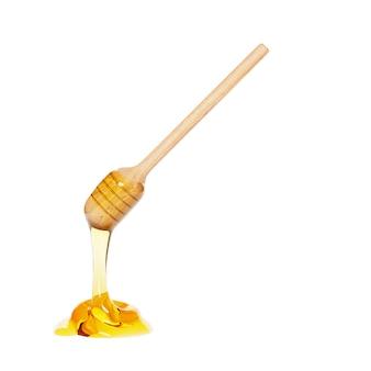 白で隔離される滴る蜂蜜