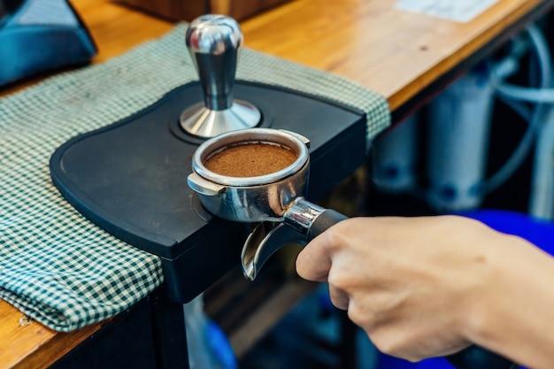 コーヒーを作るのクローズアップ