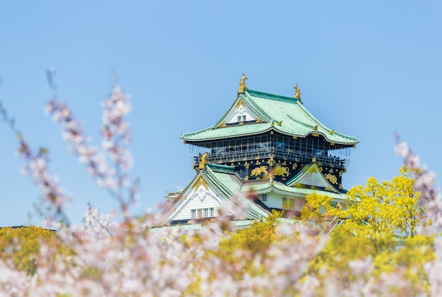 ぼやけた桜の前景がある大阪城。日本の春の日本の美しい景色