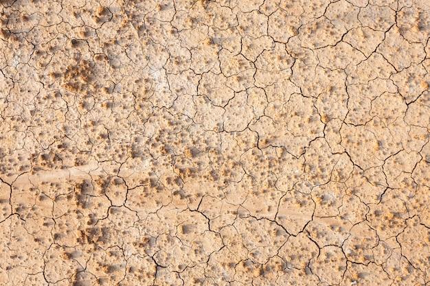 Коричневая сухая почва или треснутая земная предпосылка текстуры.