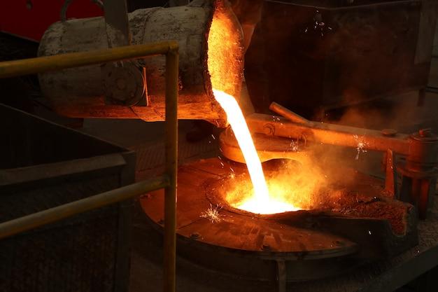 とりべから溶融炉に溶融鉄を注ぐ