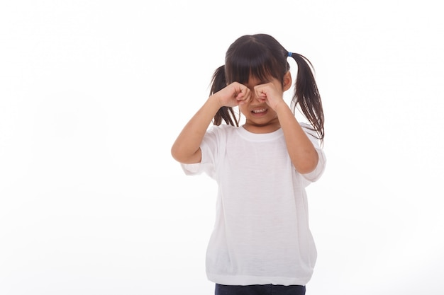 Маленькая девочка плачет на белой стене.