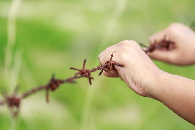 古い金属の錆びた有刺鉄線にぶら下がって手を閉じます