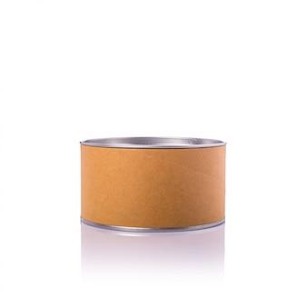 Новая коричневая круглая бумажная коробка с серебряной крышкой.