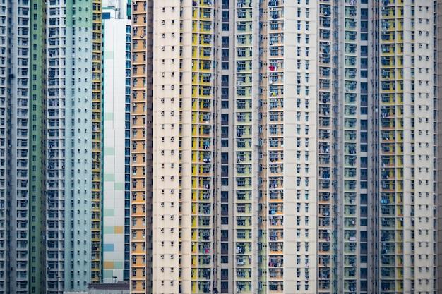 住宅ビルのパノラマの町。中国の複雑な都市と都市生活のためのコンセプトの背景