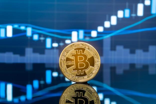 ビットコインと暗号通貨投資の概念。