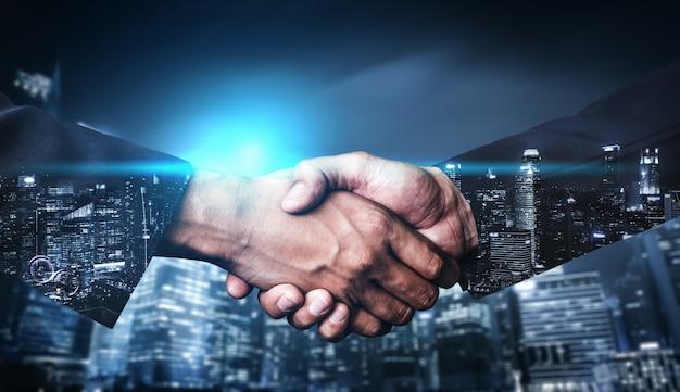 ビジネスと金融の二重露出イメージ