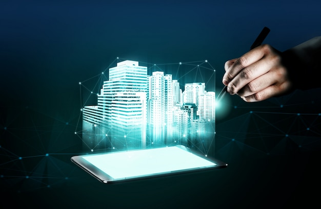革新的な建物のアーキテクチャとエンジニアリング。