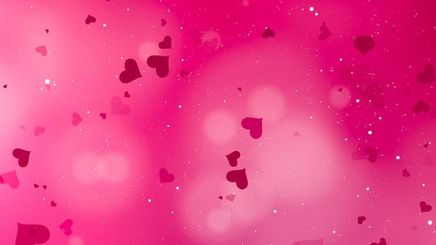心とピンクの背景
