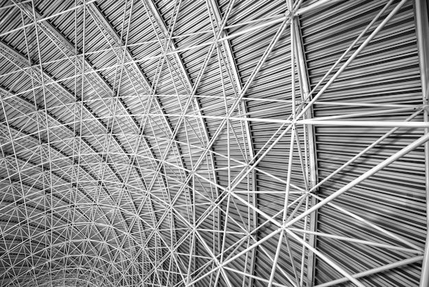 金属鋼屋根のモダンなインテリアアーキテクチャ。