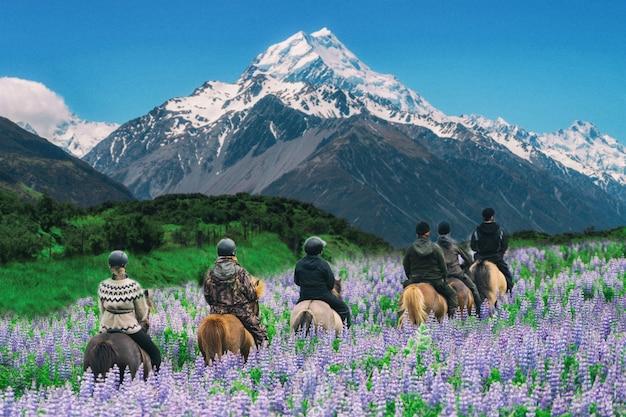 Путешественник ездить на лошади на горе кук, новая зеландия.