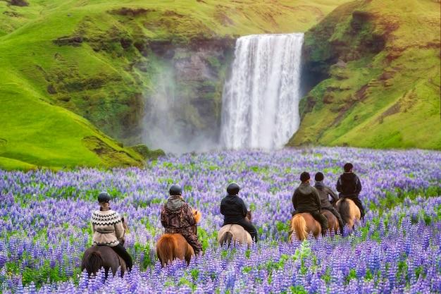観光客はスコガフォス滝アイスランドで馬に乗る。