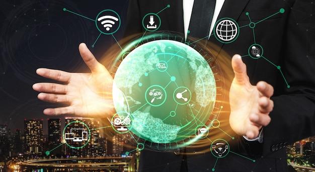 ソーシャルメディアと人々のネットワーク技術の概念