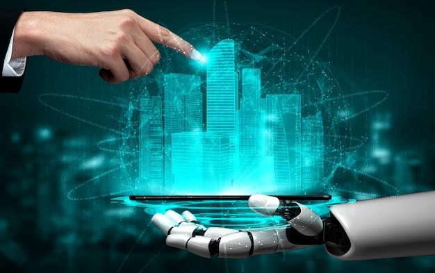 将来の人工知能ロボットとサイボーグ。