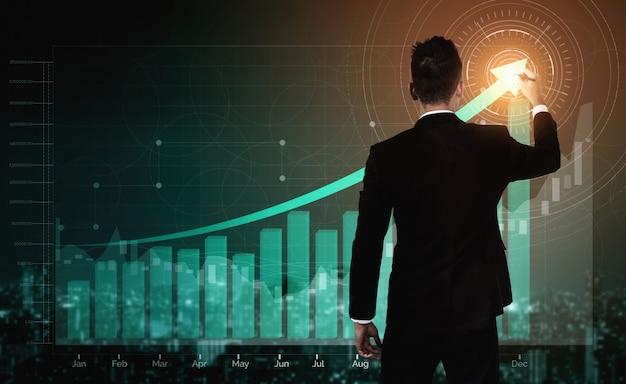 事業利益成長の二重露光画像