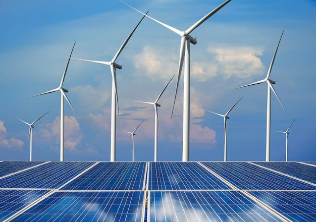 ソーラーパネルと風力タービンファームのクリーンエネルギー
