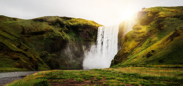 Водопад скогафосс в исландии летом.