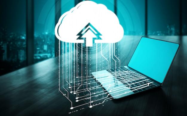 クラウドコンピューティング技術とビジネスネットワークの概念のためのオンラインデータストレージ。