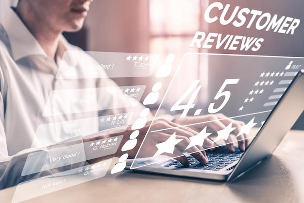 顧客レビュー満足度フィードバック調査の概念。