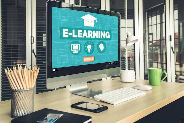 Электронное обучение и онлайн-образование для студентов и студентов концепции.