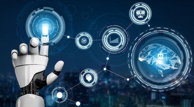 未来的なロボットの人工知能の概念。
