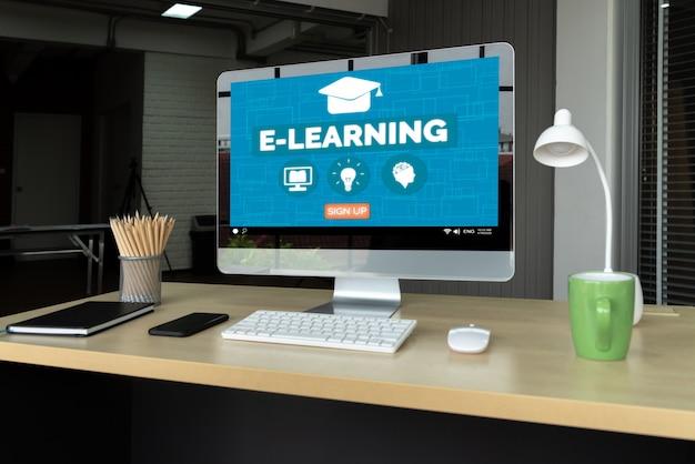 Электронное обучение и онлайн-образование для студента и концепции университета.