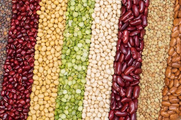斜めの背景のためのマルチカラー乾燥マメ、健康的な食事のための別の乾燥豆。