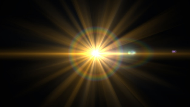レンズフレアが黒い背景に光を当てます。