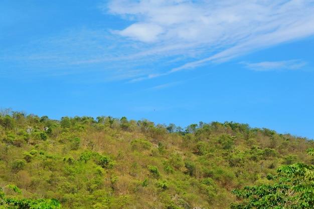 大きな山で白い雲、緑と黄色の木々と澄んだ青い空。