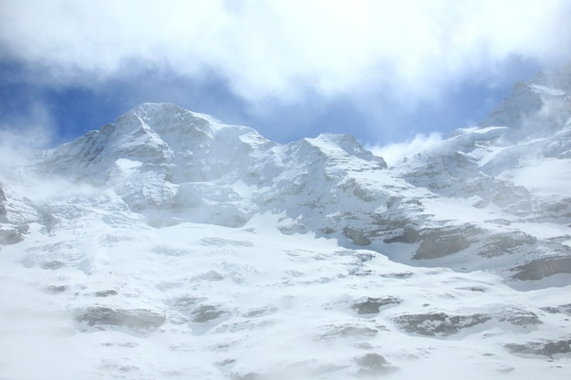 スイスの有名な観光列車の氷河急行でスイスアルプス