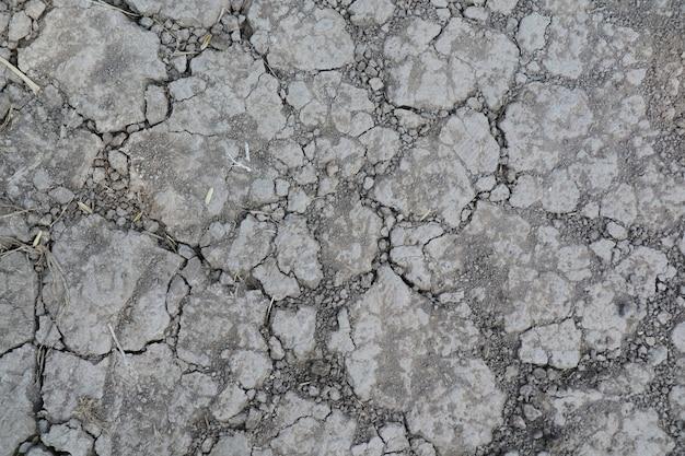 乾燥したひびの入った地面の平面図です。自然の背景と質感の概念。