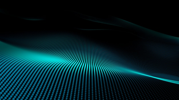輝く抽象的なデジタル波粒子。未来的なイラスト。暗い背景に