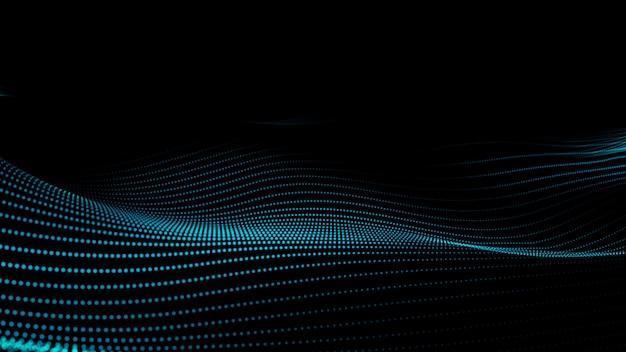 Светящиеся абстрактные частицы цифровой волны. футуристическая иллюстрация на темном фоне