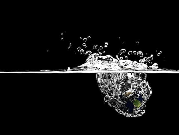 Земля падает глубоко под водой с большим всплеском.