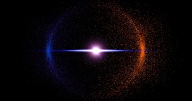 円で抽象的なキラキラ粒子