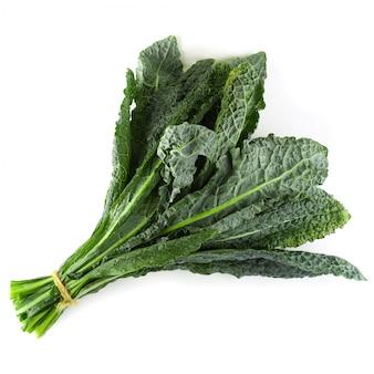 Свежие органические зеленые листья капусты, изолированные на белом фоне