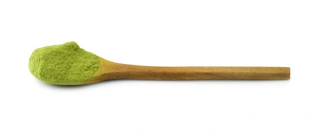 抹茶パウダーグリーンティー、白い背景で隔離