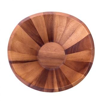 白い背景上に分離されて空の茶色の木製ボウル