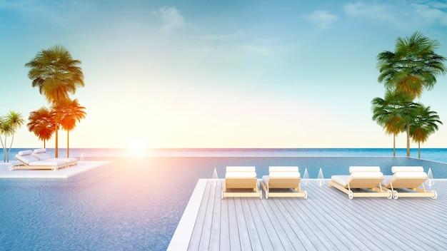Пляжный лаундж утром, шезлонги на палубе для загара и бассейн