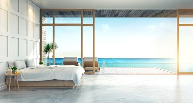 Современный интерьер лофта спальни с панорамным видом на море на вилле, пляжный лаундж