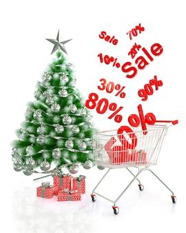 クリスマスセール、クリスマスツリー、赤いギフトボックス、ショッピングカート