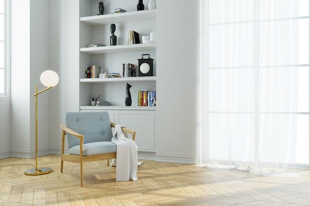 近代的な中世世紀の室内インテリア、木製のフローリングの本棚付きブルーアームチェア
