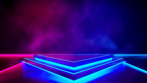 煙と紫のネオン光、抽象的な未来的な背景と三角形のステージ