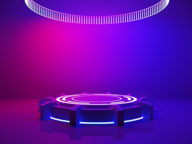 Ультрафиолетовая концепция интерьера, пустая сцена и фиолетовый свет
