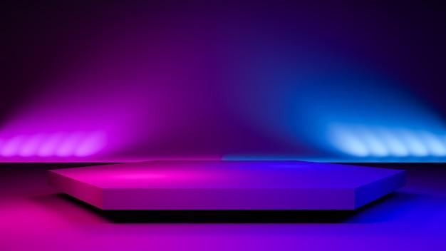 六角形ステージライト、抽象的な未来的な背景