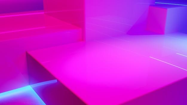 Дисплей продукта подиум с дымом и фиолетовым неоновым светом