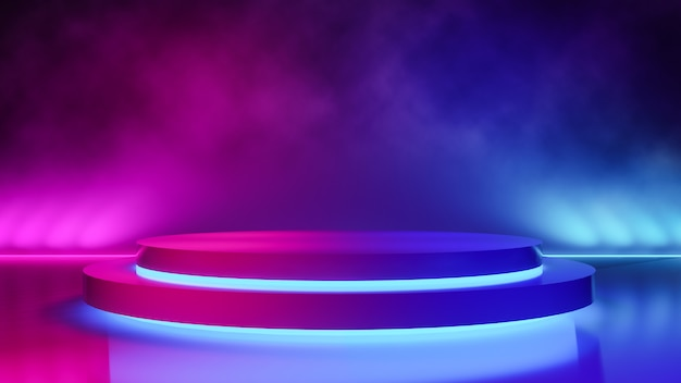 Пустая круговая сцена с дымом и фиолетовым неоновым светом