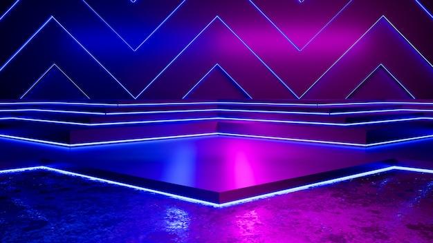 空の三角形と紫色のネオンの光